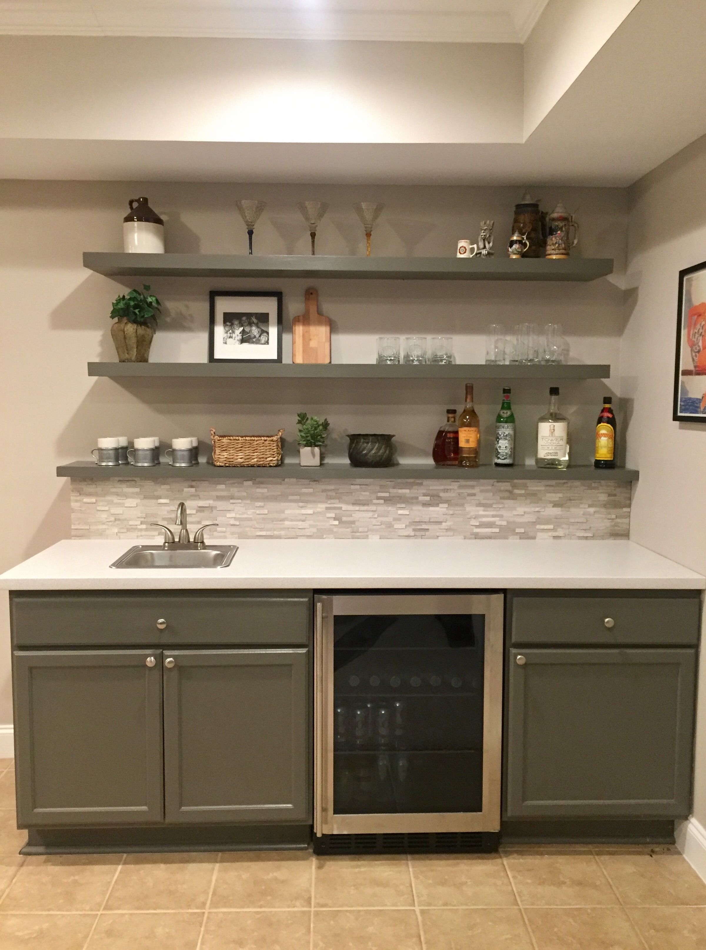 Basement Bar Almost Done Backsplash Tile And Cabinets From within dimensions 2401 X 3228