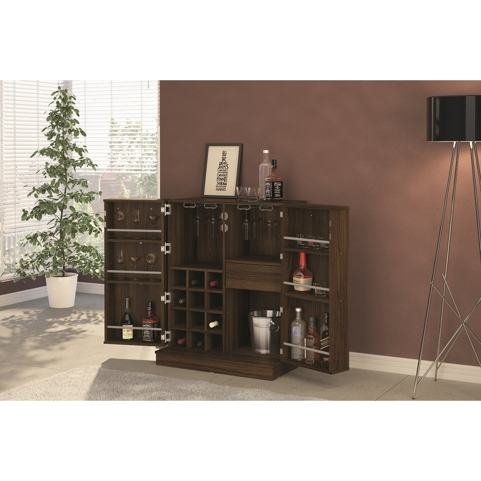Boahaus Brown Expandable Bar Cabinet With Wine Storage throughout dimensions 959 X 959