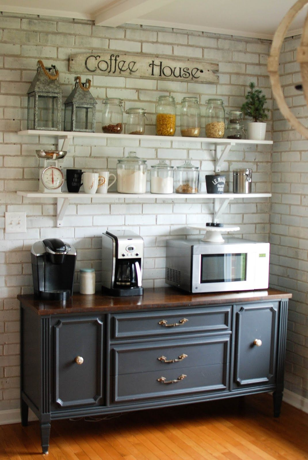 Caught In Grace Open Shelves Coffee Bar Buffet Our Home pertaining to measurements 1071 X 1600