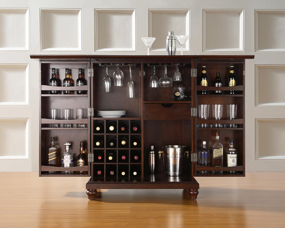Crosley Furniture Cambridge Expandable Bar Cabinet In Vintage Mahogany Finish Kf40001dma regarding proportions 1000 X 800