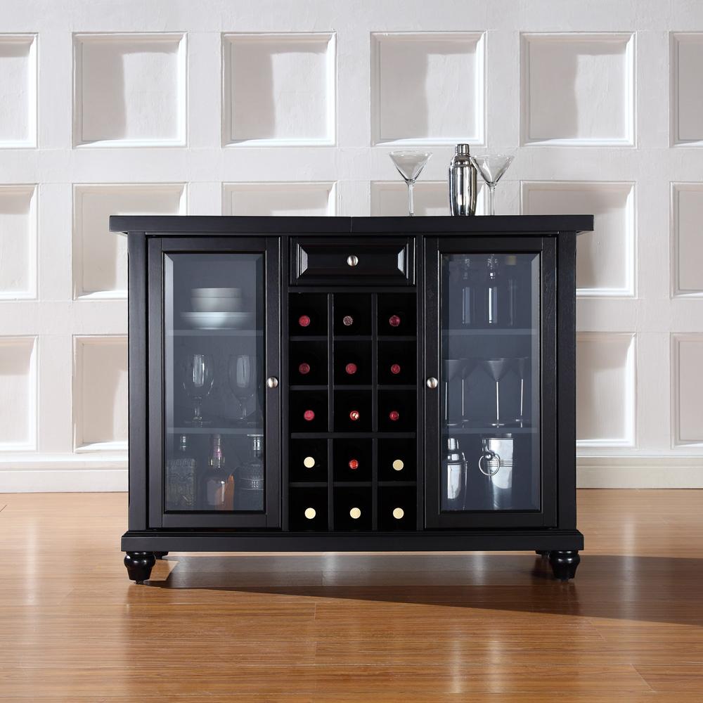 Crosley Furniture Cambridge Sliding Top Bar Cabinet In Black Finish Kf40002dbk inside sizing 1000 X 1000