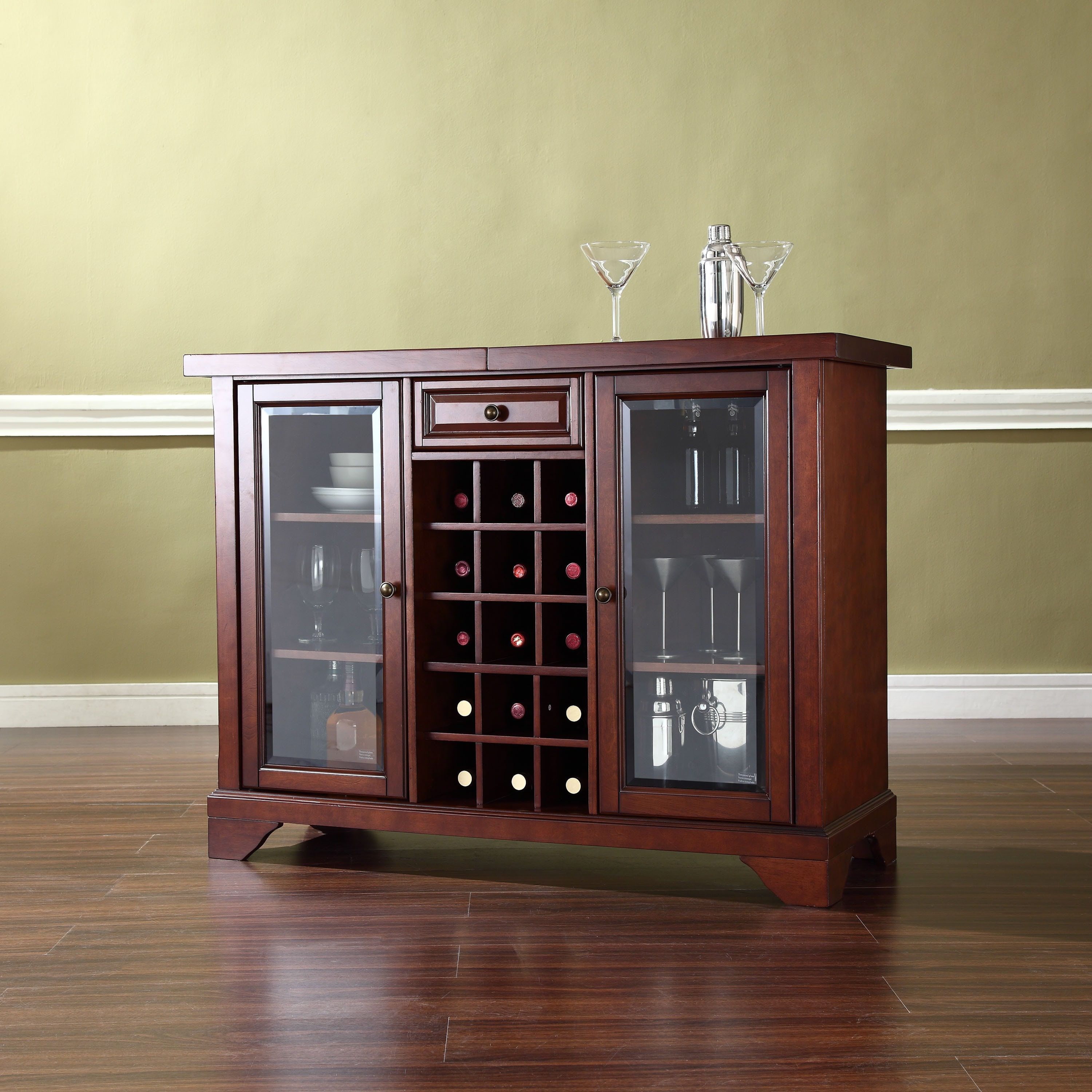 Crosley Furniture Lafayette Sliding Top Bar Cabinet In inside sizing 3000 X 3000