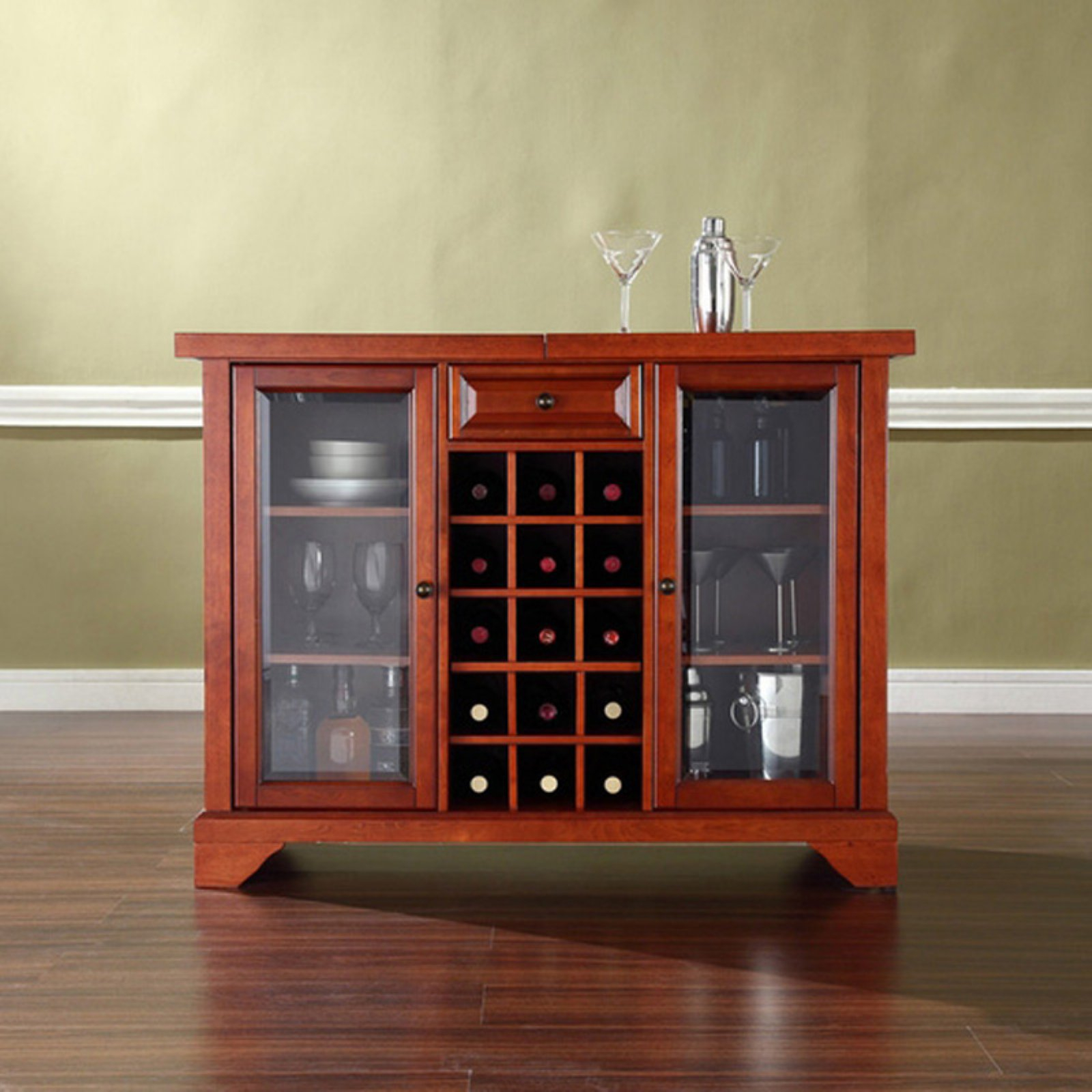 Crosley Furniture Lafayette Sliding Top Bar Cabinet with measurements 1600 X 1600