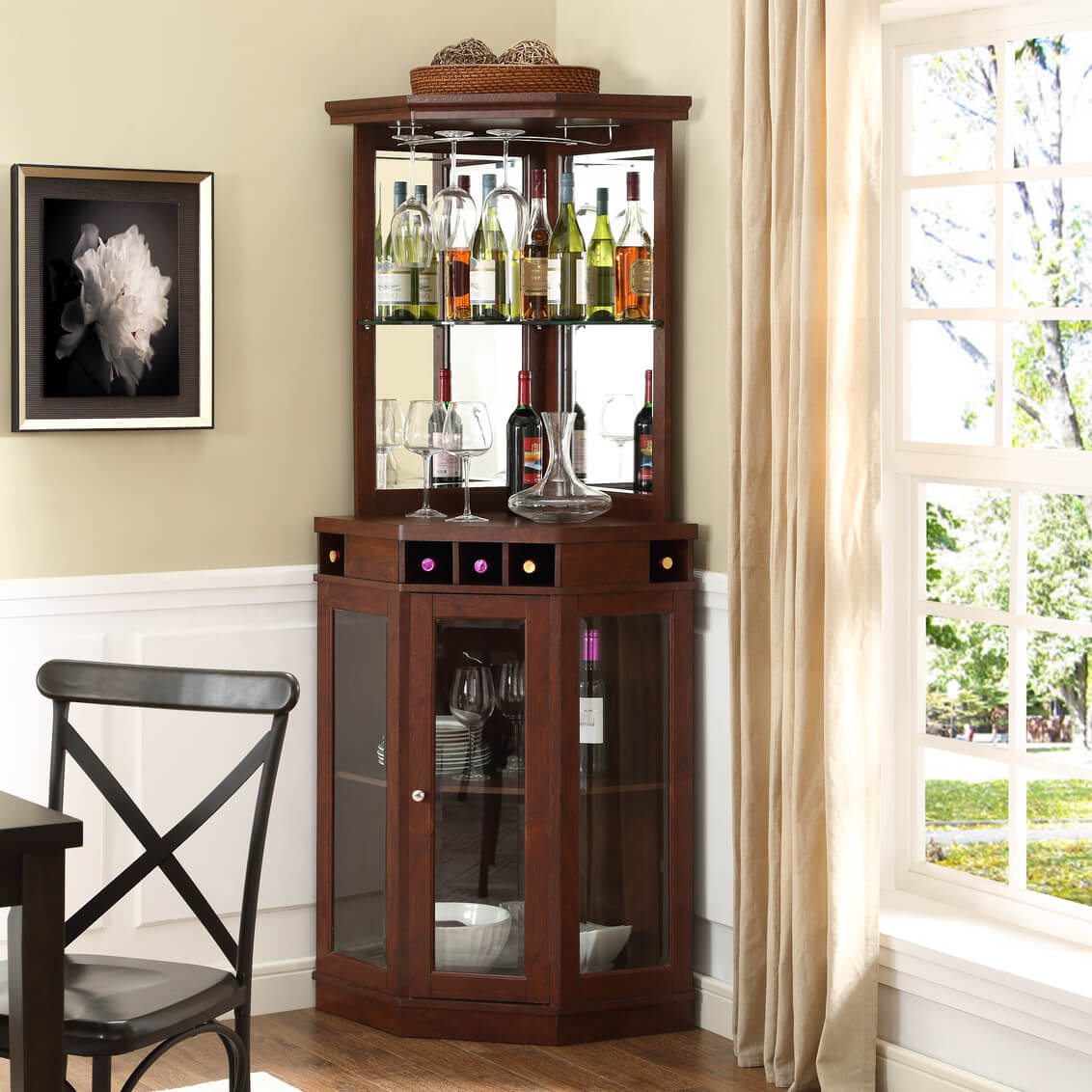 Dc03 Cherry Corner Bar Cabinet throughout proportions 1132 X 1132