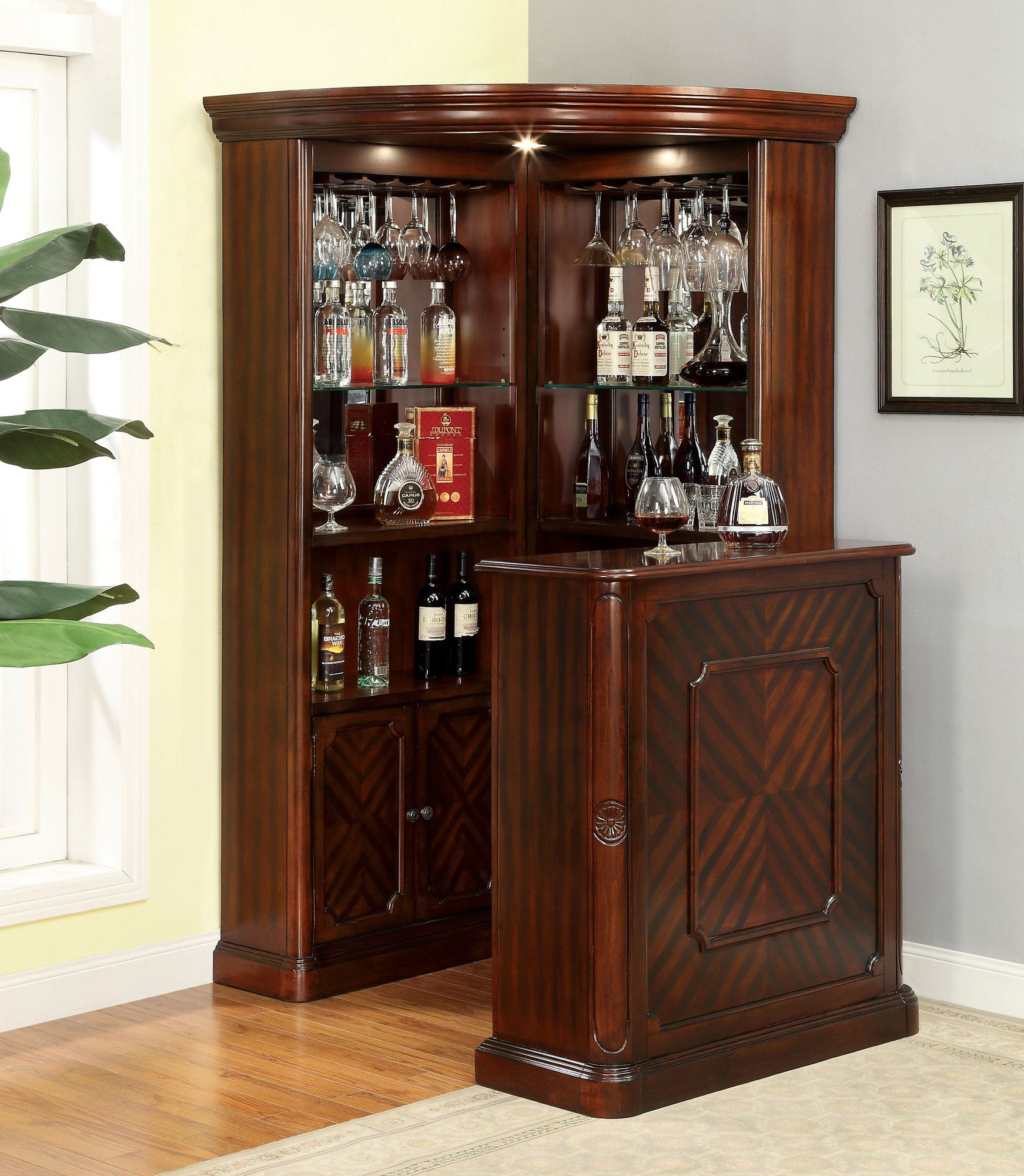 Deasia Corner Curio Cabinet In 2019 Racks Home Bar throughout size 1742 X 2000