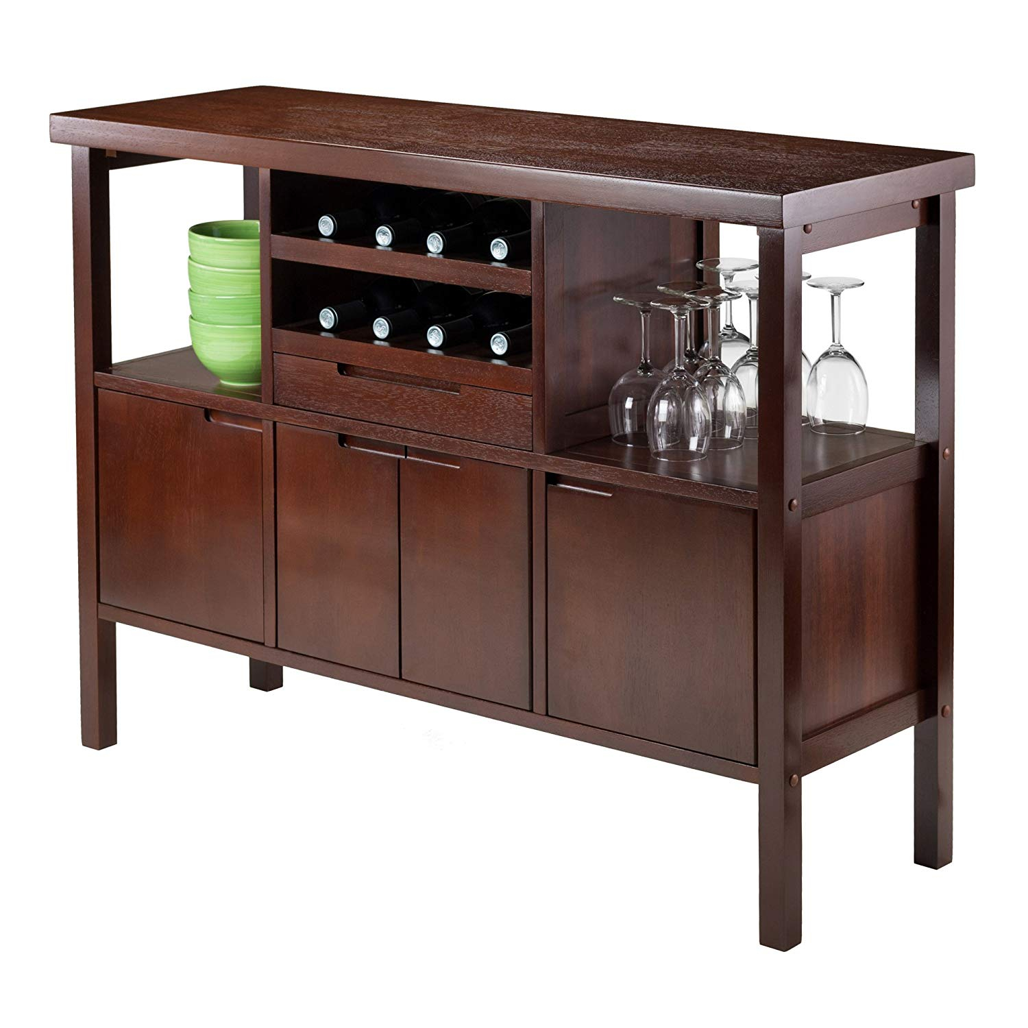 Details About Liquor Cabinet Mini Bar Furniture Wine Rack Buffet Table Kitchen Island Brown within proportions 1500 X 1500