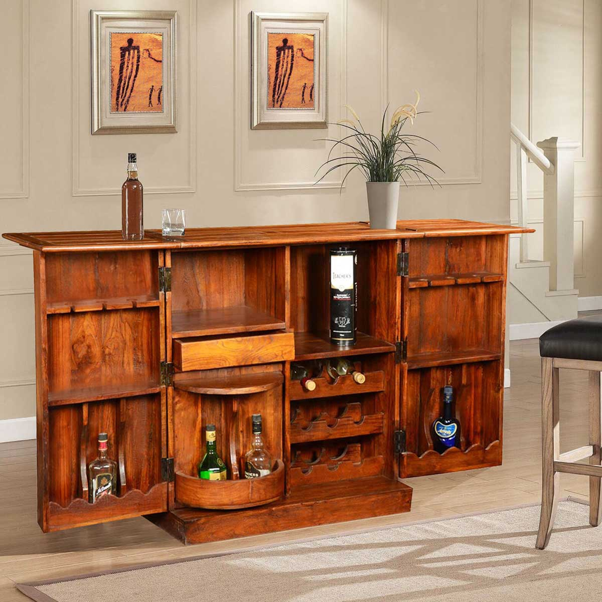Double Diamond Solid Wood Brass Expandable Wine Bar Liquor Cabinet throughout size 1200 X 1200