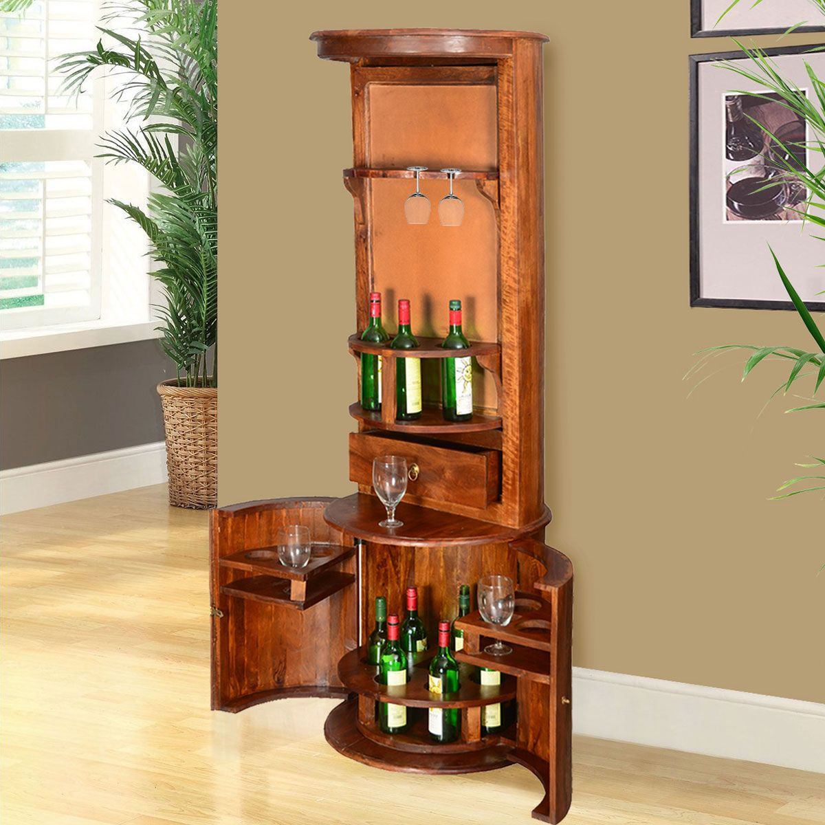 Hebron Solid Wood Barrel Design Tower Bar Cabinet With Wine intended for measurements 1200 X 1200