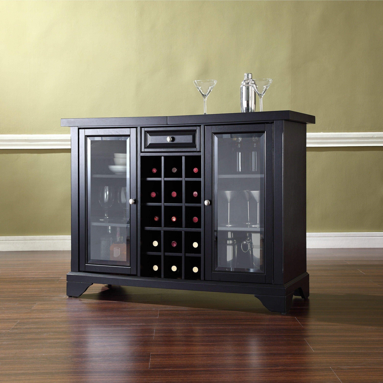 Lafayette Sliding Top Bar Cabinet In Black Finish regarding measurements 3000 X 3000