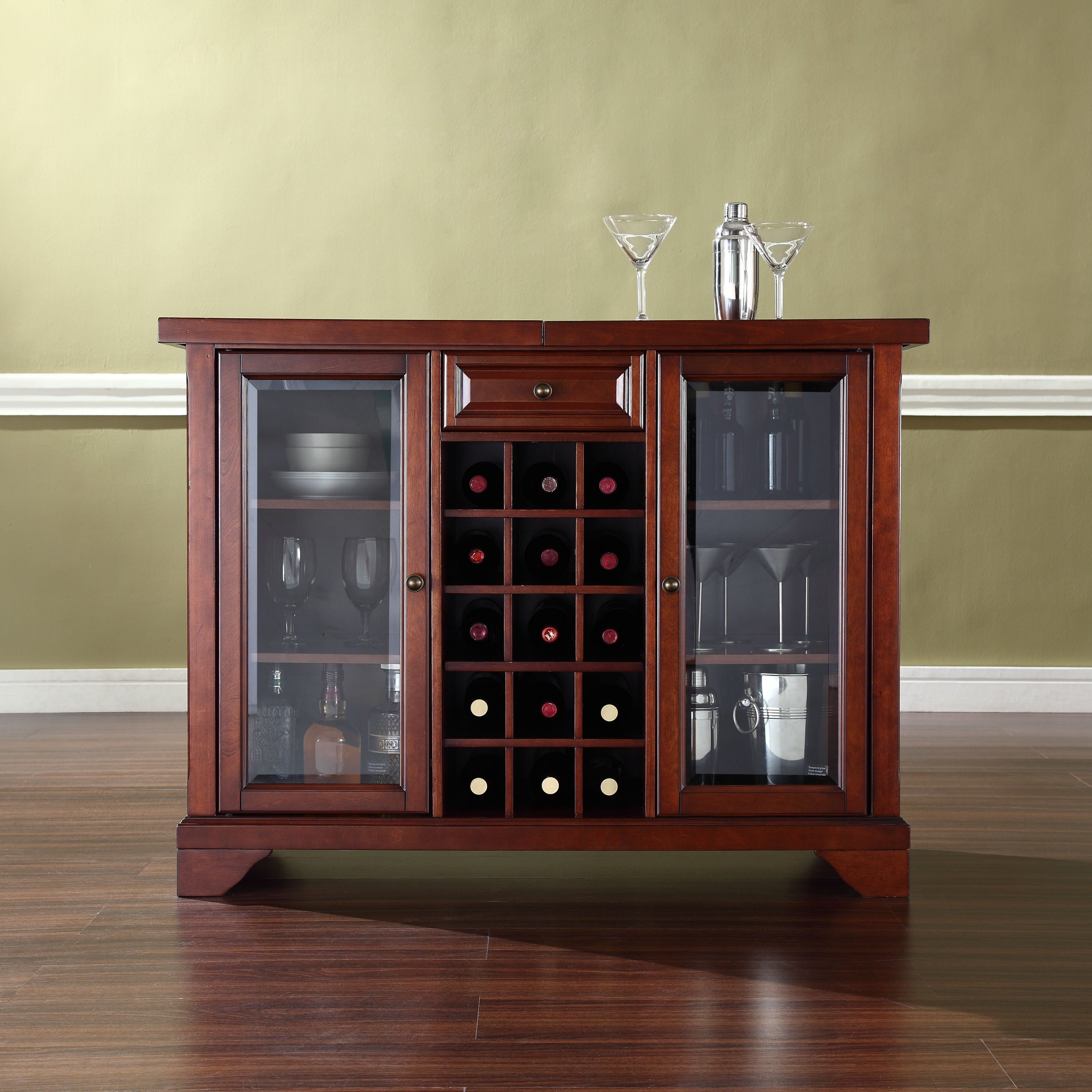 Lafayette Sliding Top Bar Cabinet In Vintage Mahogany Finish in proportions 3000 X 3000