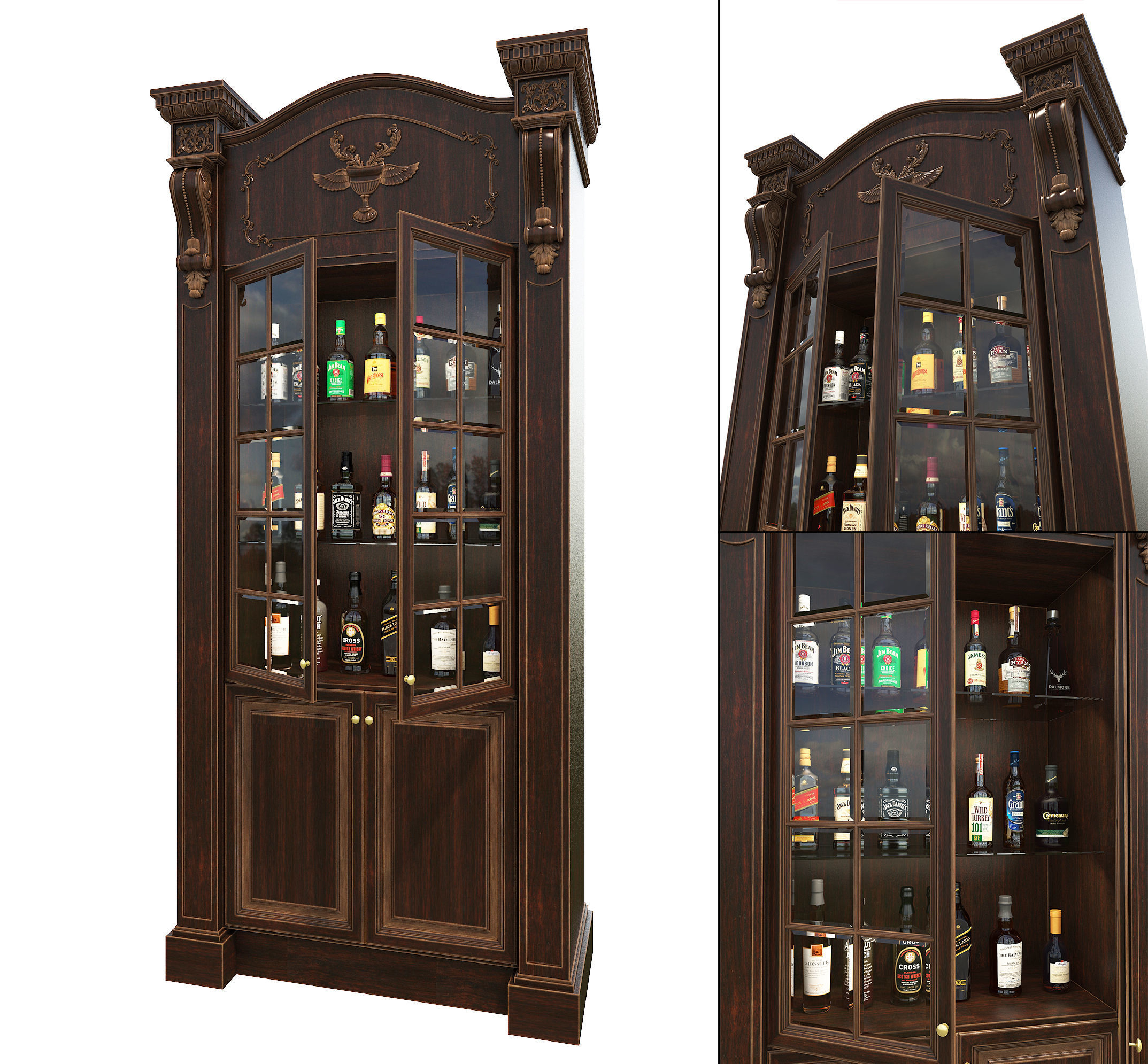 Liquor Cabinet European Style 3d Model for dimensions 2147 X 1991
