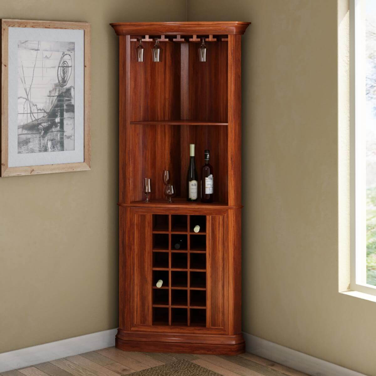Louis Rustic Solid Wood Corner Bar Cabinet with regard to size 1200 X 1200