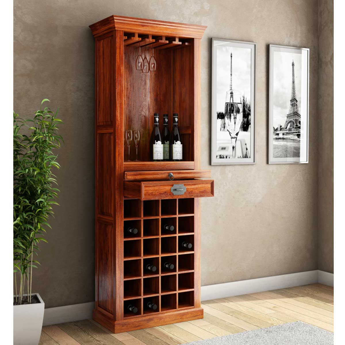 Lovedale Rustic Mango Wood 72 Tall Tower Bar Cabinet With Wine Storage intended for size 1200 X 1200