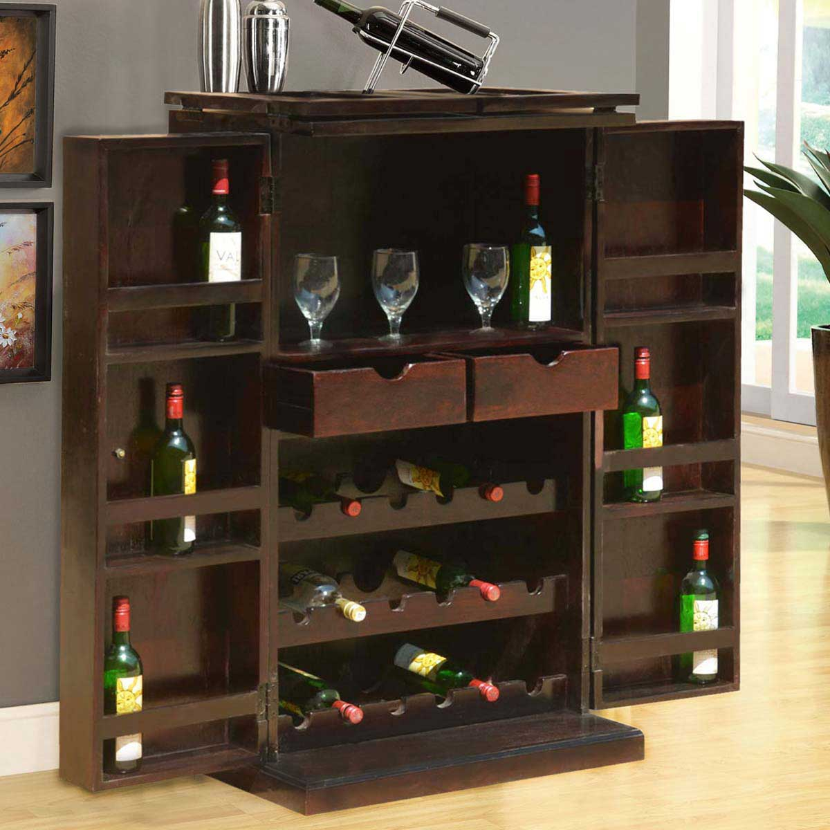 Mexico Traditional Handcrafted Solid Wood Expandable Wine Bar Cabinet for size 1200 X 1200
