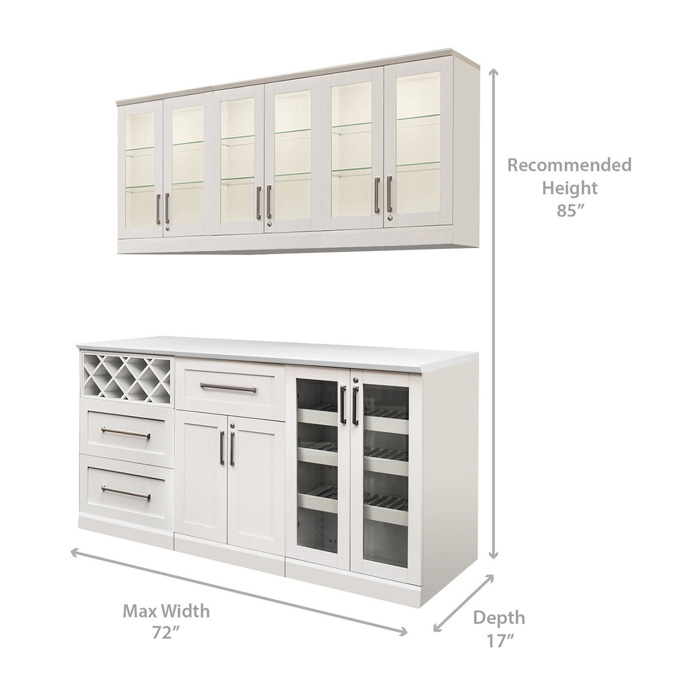 Newage Products White Shaker Style 7 Piece Home Bar Storage Cabinet within size 1406 X 1406