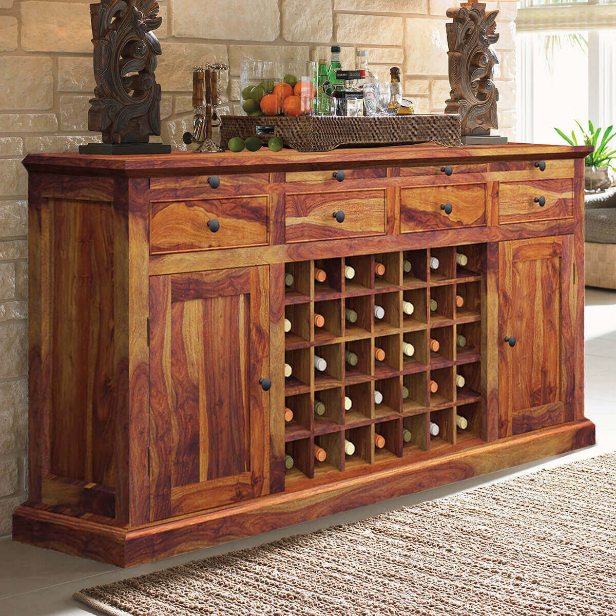 Oenophile Dallas Ranch Solid Wood Grand Wine Bar Cabinet with regard to proportions 1200 X 1200