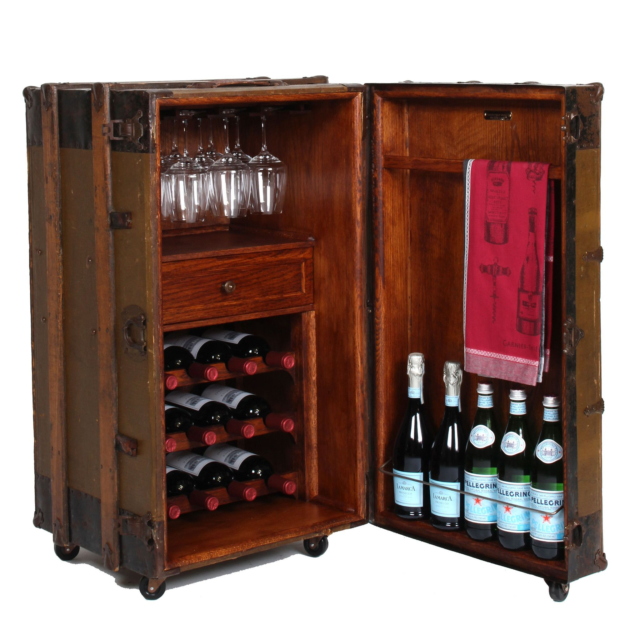 One Of A Kind Vintage Steamer Trunk Wine Bar Cabinet inside dimensions 2048 X 2048