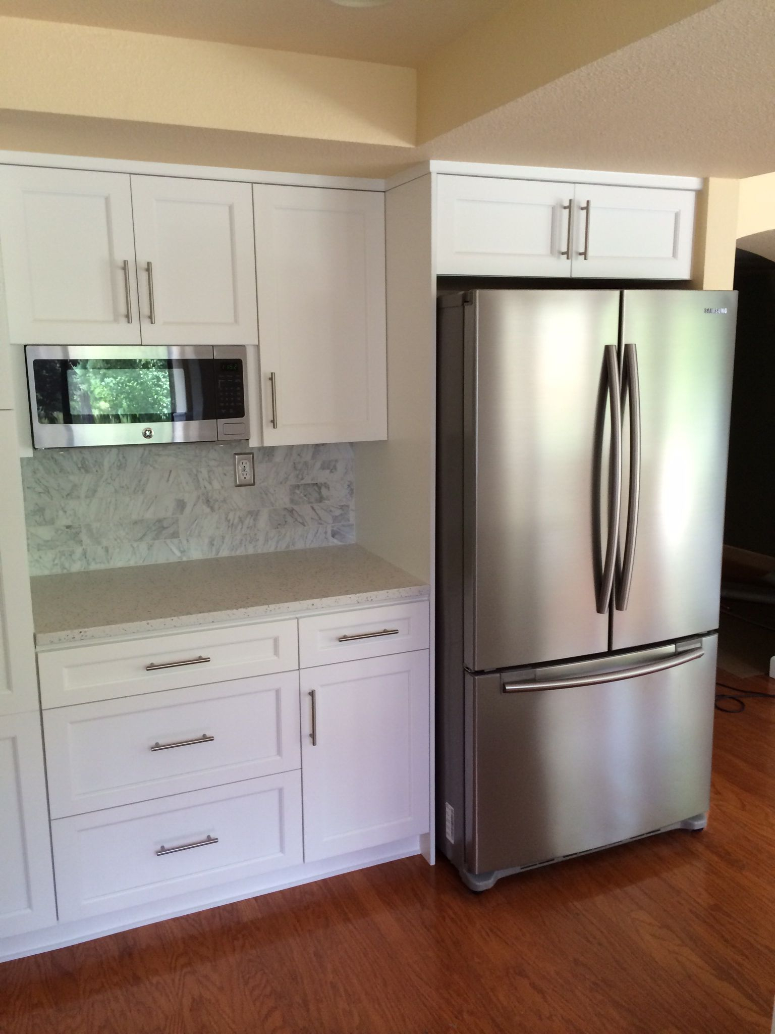 Our Kitchen Reno Bar Pulls White Cabinets Carrara Subway pertaining to proportions 1536 X 2048