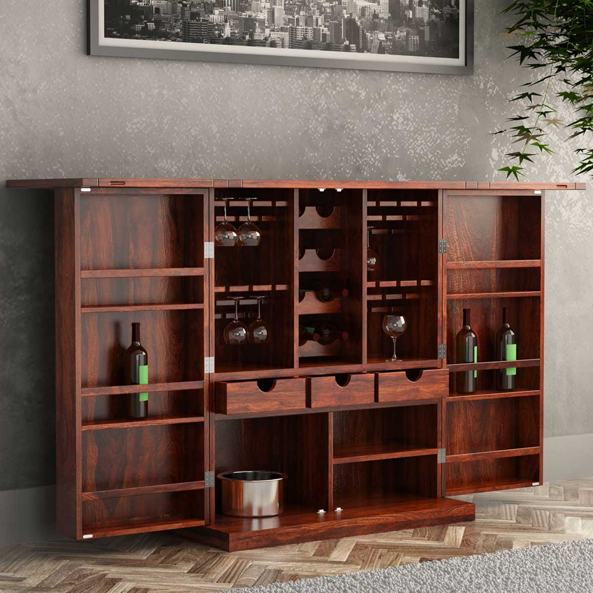 Richmond Rustic Solid Wood Expandable Bar Cabinet With Wine Storage for dimensions 1200 X 1200