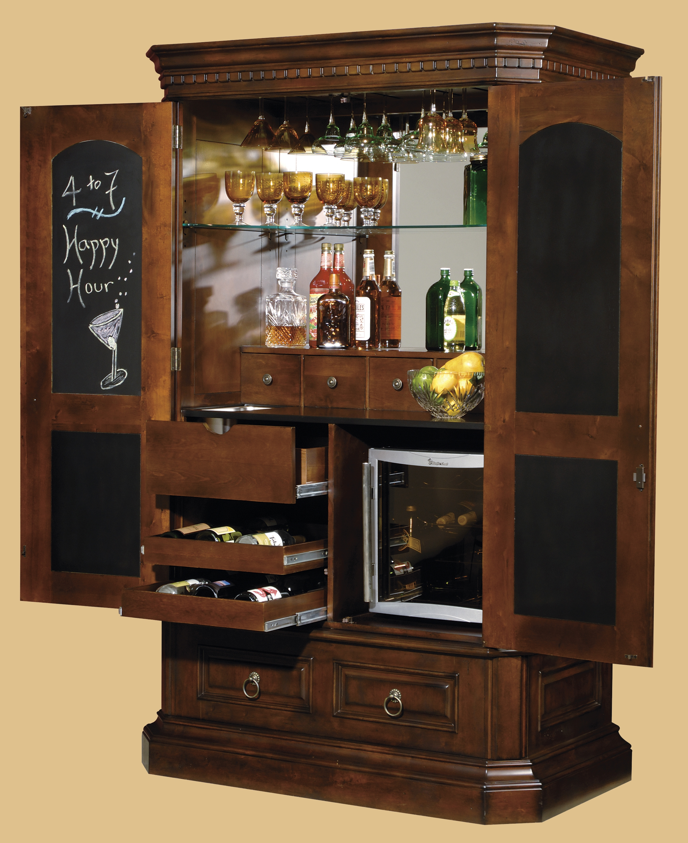 Tall Bar Cabinet With Chalkboard Interior Door Plus Glass throughout sizing 2350 X 2880
