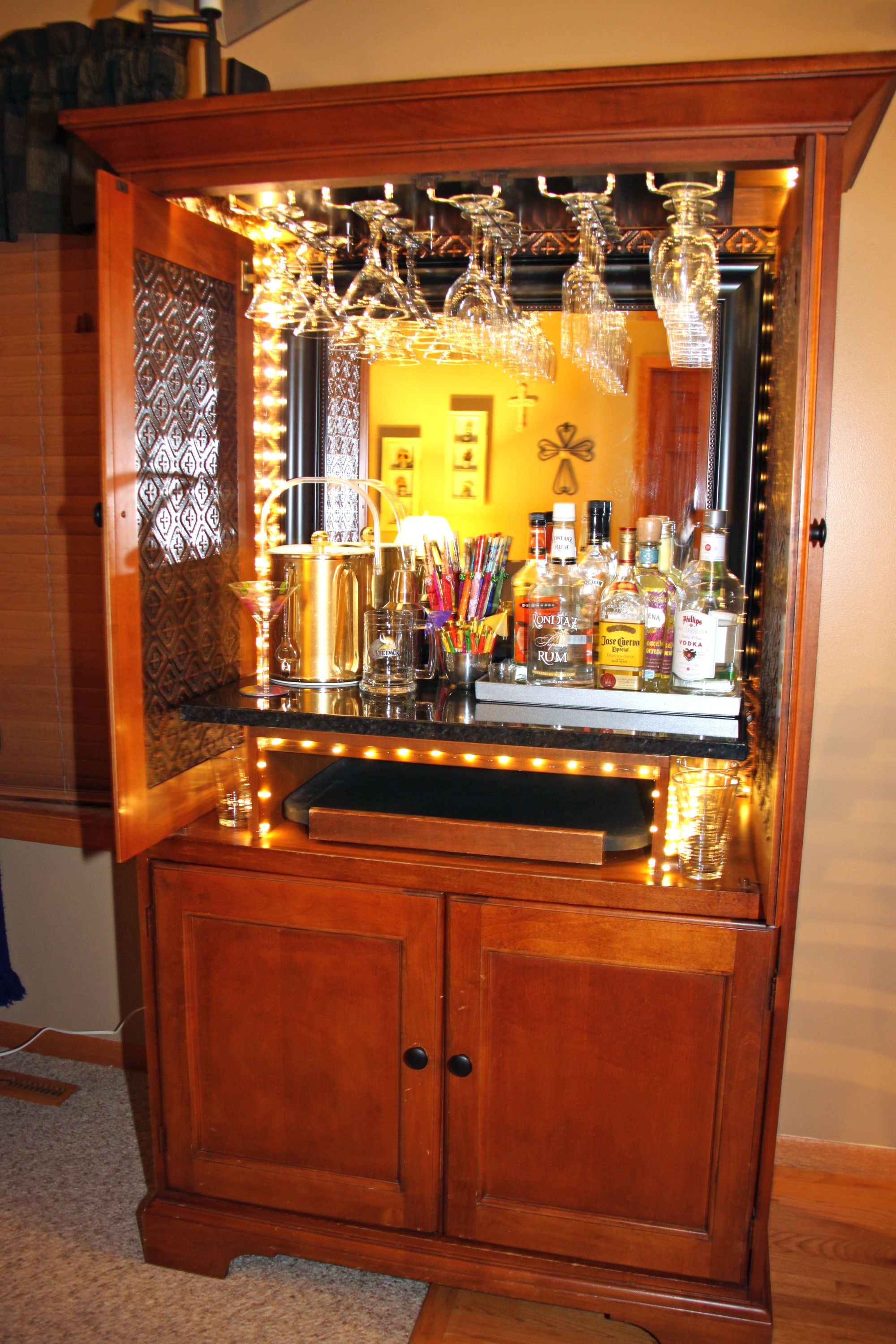 Tv Cabinet Converted To Dry Bar Armoir Armoire Bar Bars with size 2000 X 3000