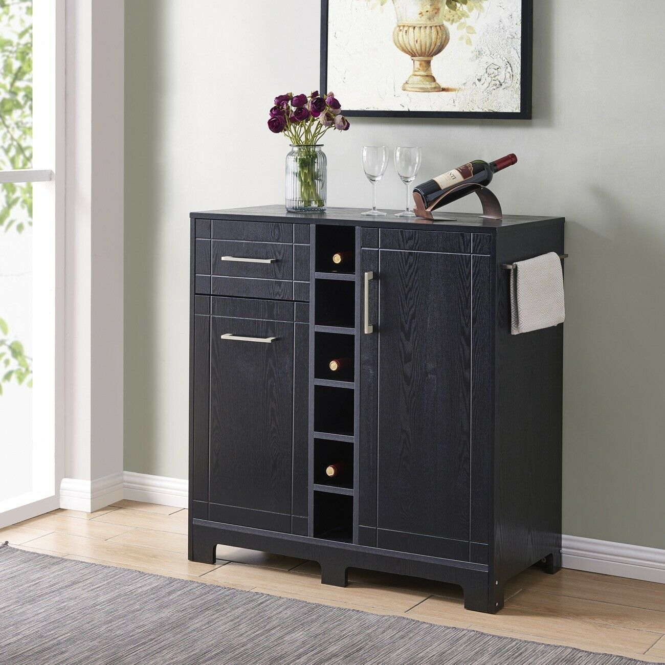 Vietti Home Bar Cabinet With Bottle Glass Storage Drawers In Black Oak Finish with regard to size 1300 X 1300