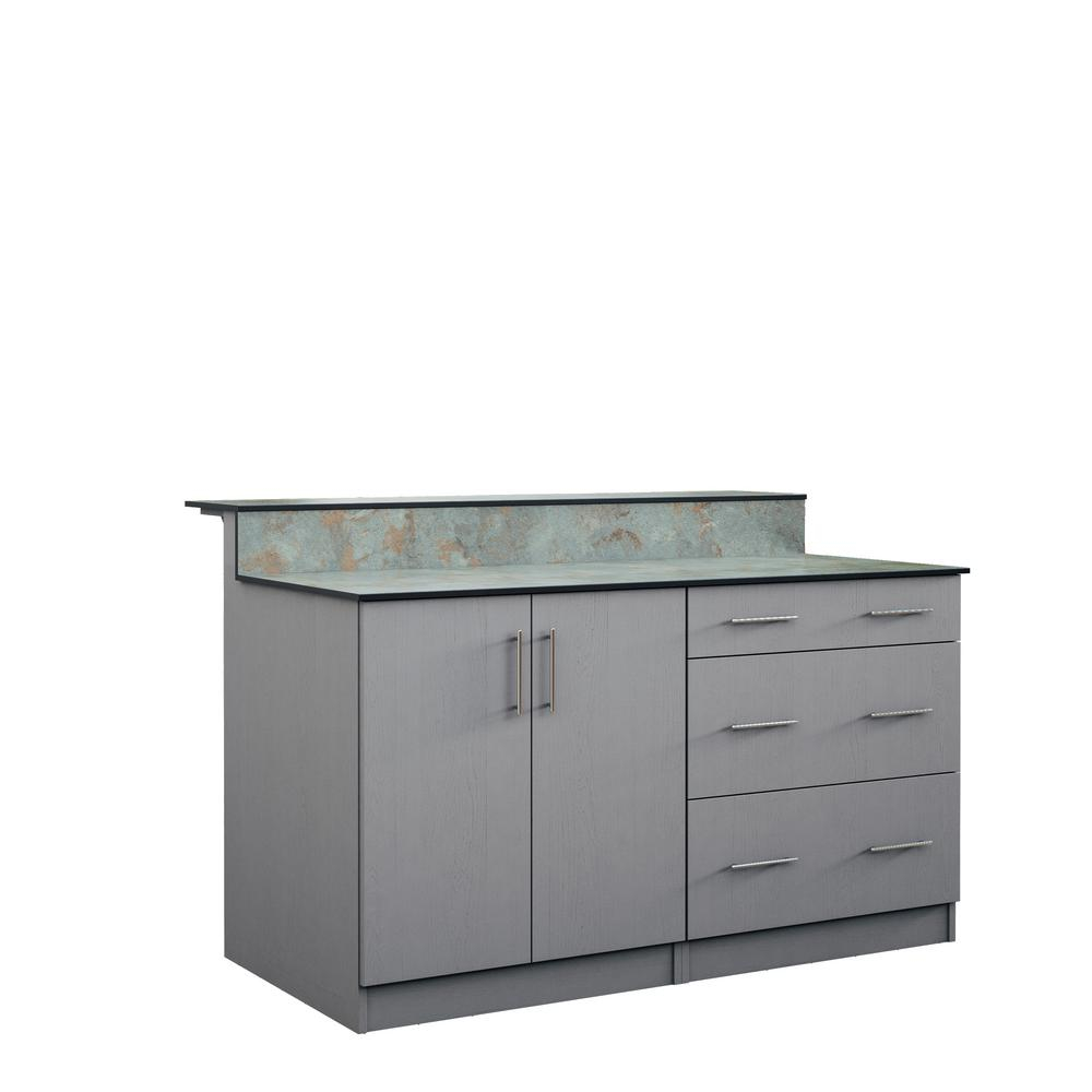 Weatherstrong Miami 595 In Outdoor Bar Cabinets With Countertop 2 Full Height Doors And 3 Drawer In Gray in dimensions 1000 X 1000