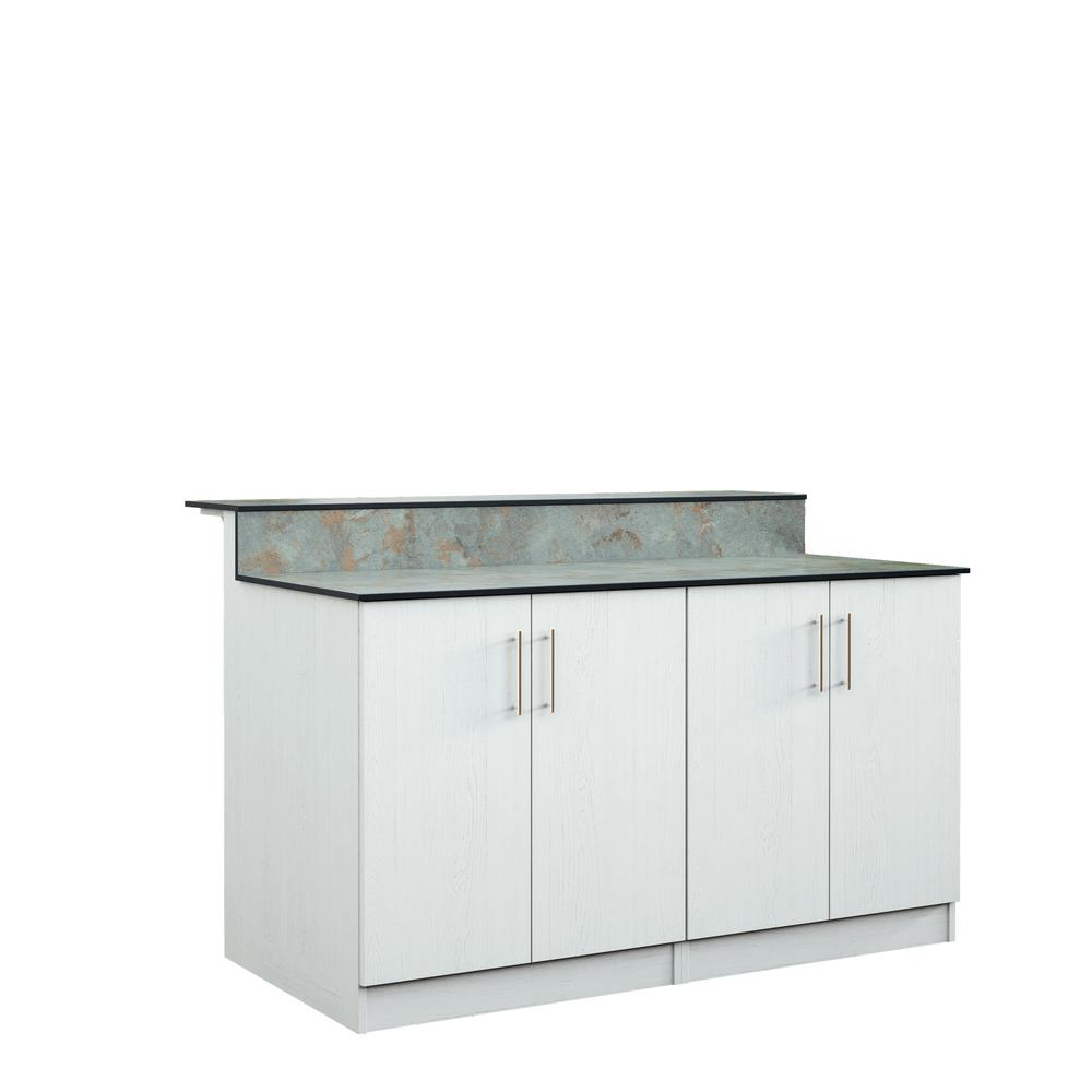 Weatherstrong Miami 595 In Outdoor Bar Cabinets With Countertop 4 Full Height Doors In White in sizing 1000 X 1000