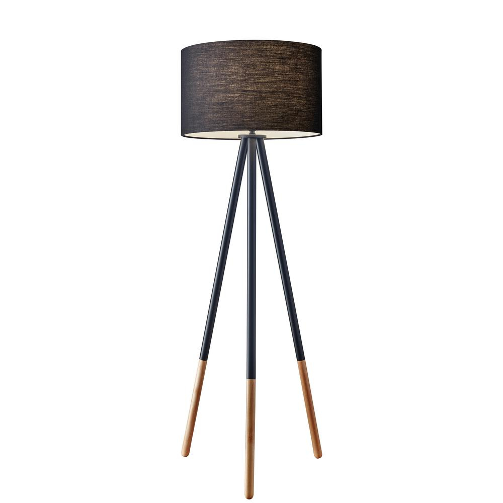 Elegant Black Tripod Floor Lamp Adesso Louise 60 In 6285 01 intended for measurements 1000 X 1000