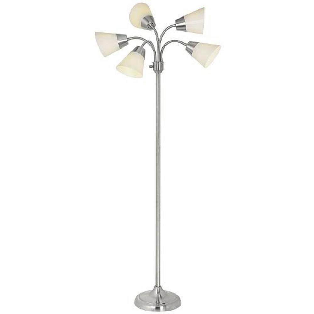 Hampton Bay 66 In Satin Nickel 5 Arm Floor Lamp