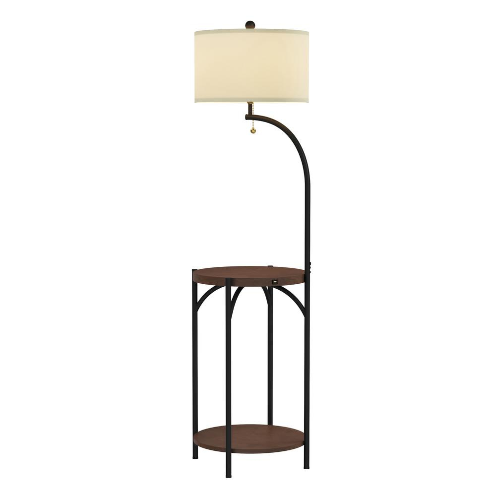 Lavish Home 58 In Dark Brown And Black Modern Rustic Led Floor Lamp End Table With Usb Charging Port pertaining to proportions 1000 X 1000