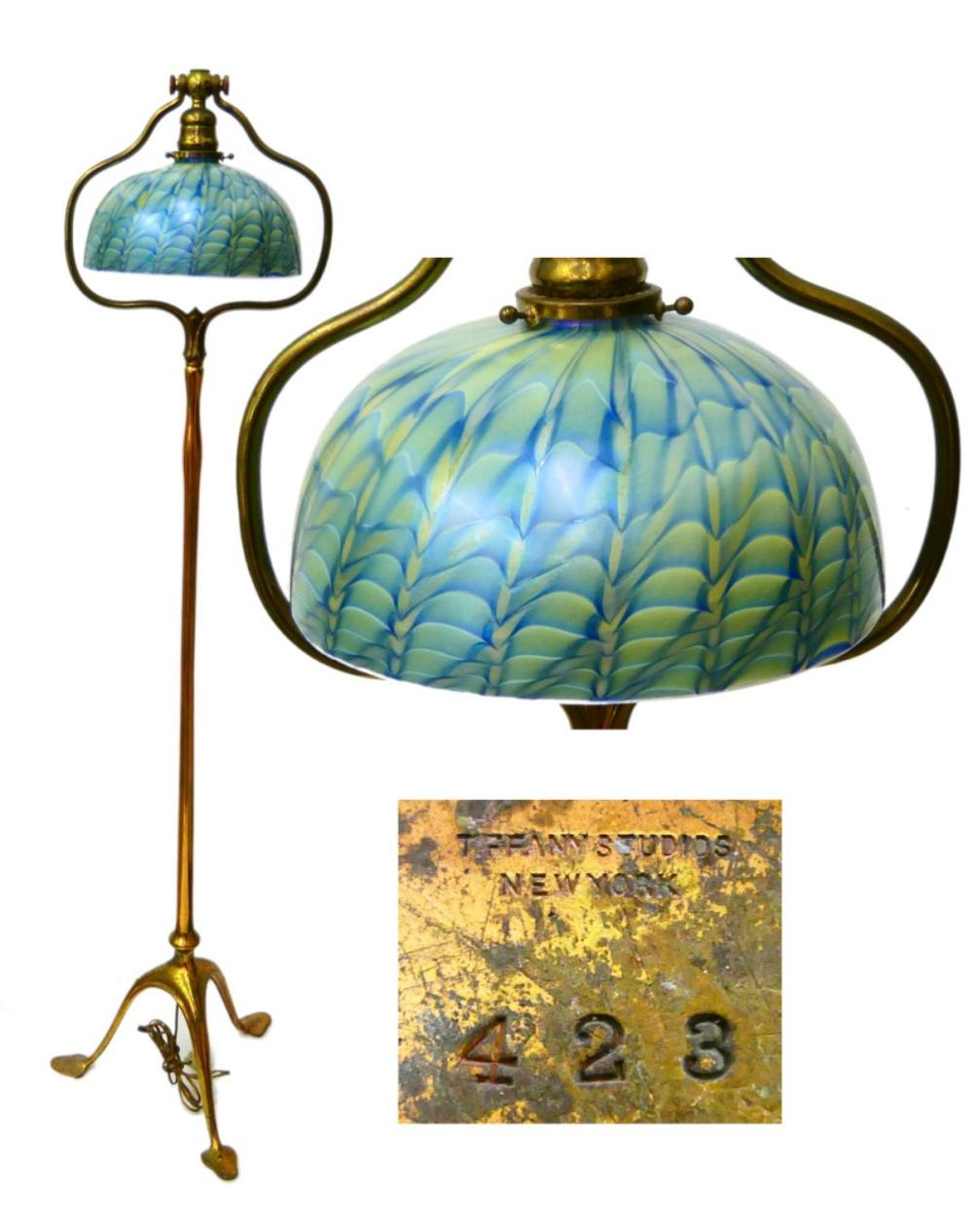 Tiffany Studios Floor Lamp With Feather Shade throughout proportions 1000 X 1266