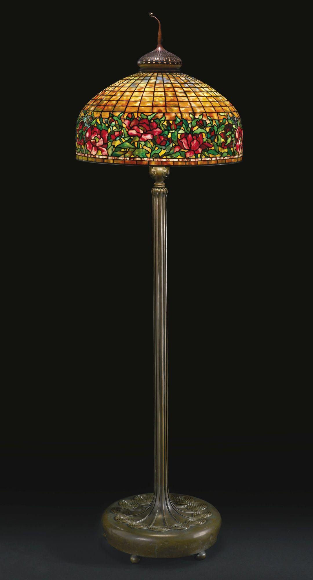 Tiffany Studios Peony Border Floor Lamp Circa 1910 inside measurements 1080 X 2000