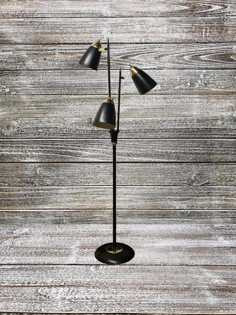 Vintage Black Bullet Floor Lamp 1950s Mid Century Modern Lighting Triennale Floor Lamp Gerald Thurston For Lightolier 3 Cone Pole Lamp throughout sizing 794 X 1058