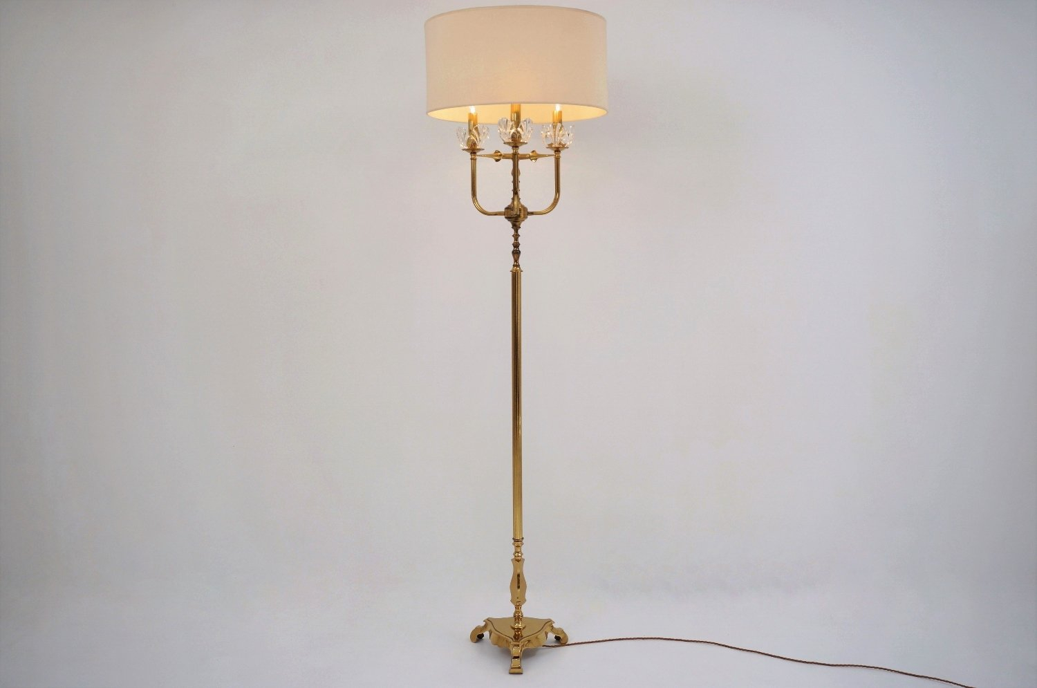 Vintage French Brass Crystal Floor Lamp 1940s for dimensions 1500 X 995