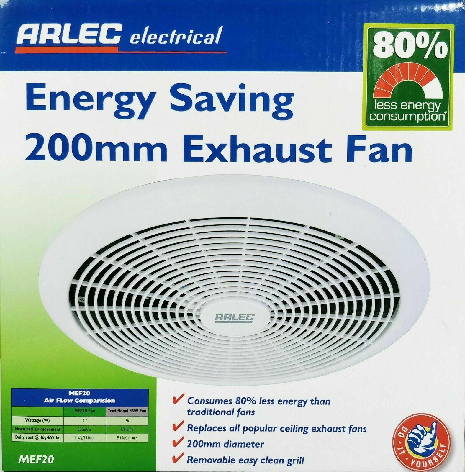Arlec 200mm Energy Saving Exhaust Fan 240v Low Power Consumption 42w regarding proportions 1576 X 1600