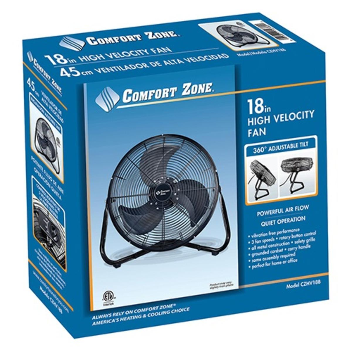 Comfort Zone 18 Inch High Velocity Cradle Fan with sizing 1200 X 1200