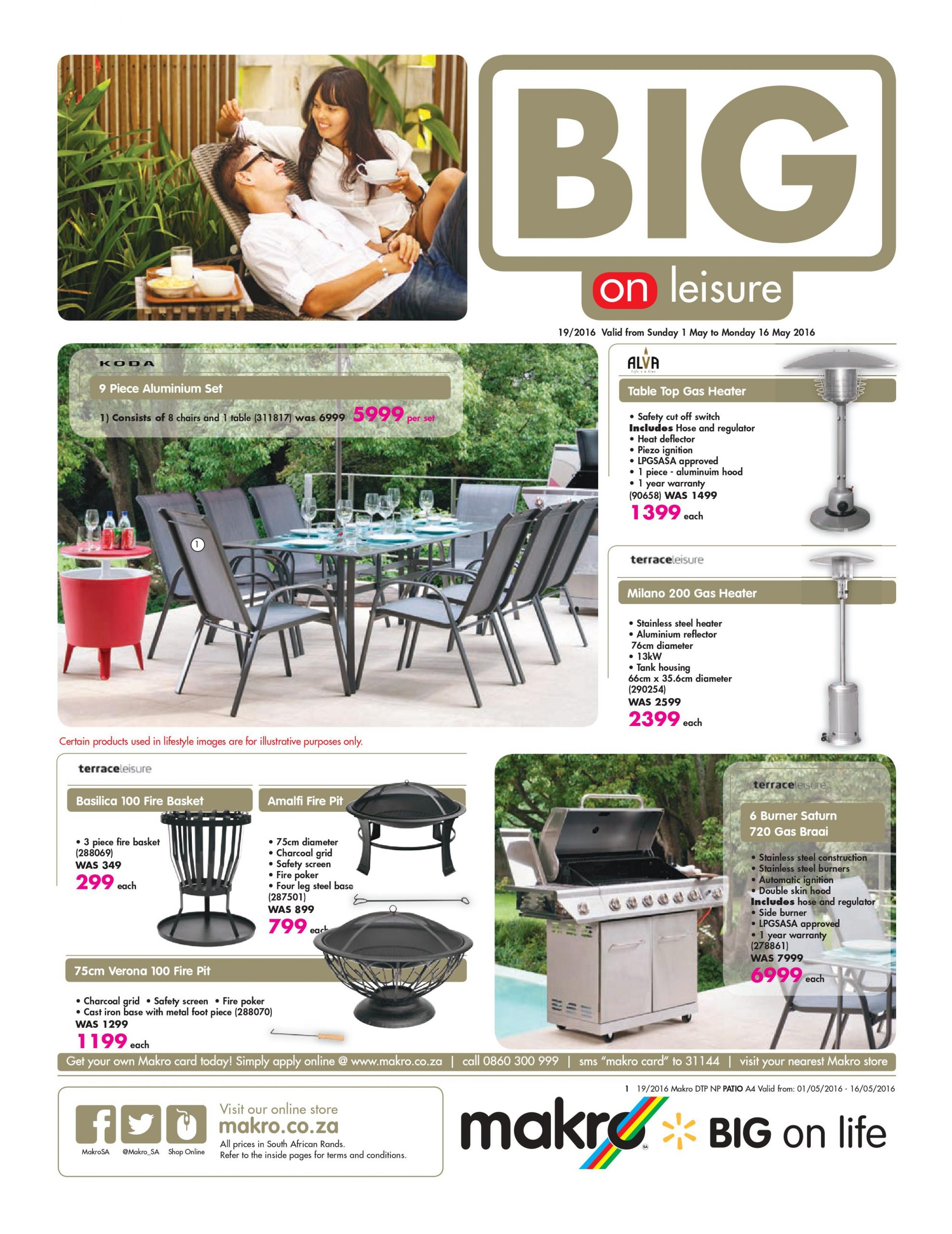 Makro Catalogue 1 May 16 May 2016 Patio Furniture with regard to dimensions 2521 X 3267