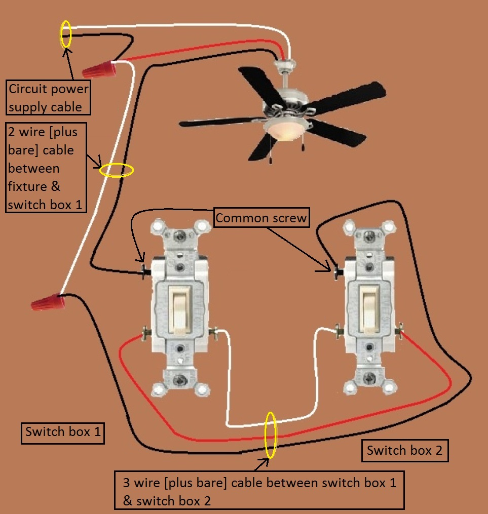 Wiring A Ceiling Fan With Two Three Way Switches  U2022 Cabinet